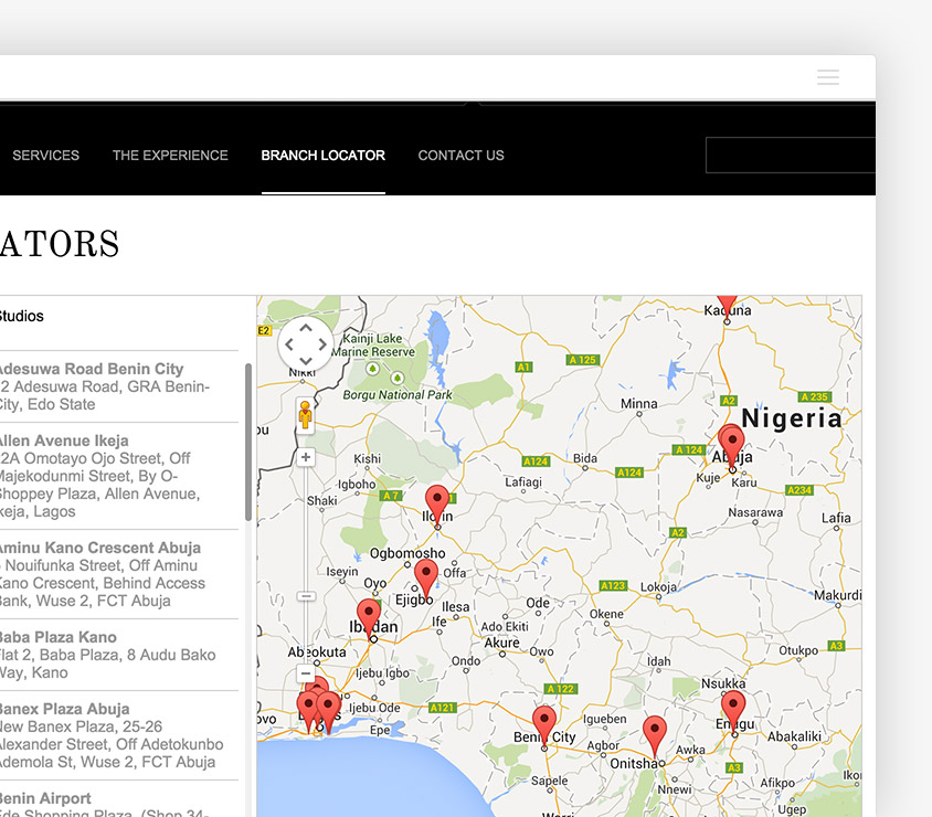 Interactive Branch Locator allows site visitors view all House of Tara branches at a glance and get directions using google maps